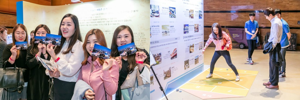 ▲ Participants smiling with the photos (Left) / Participant playing a traditional game of sabangchigi (hopscotch) (Right)