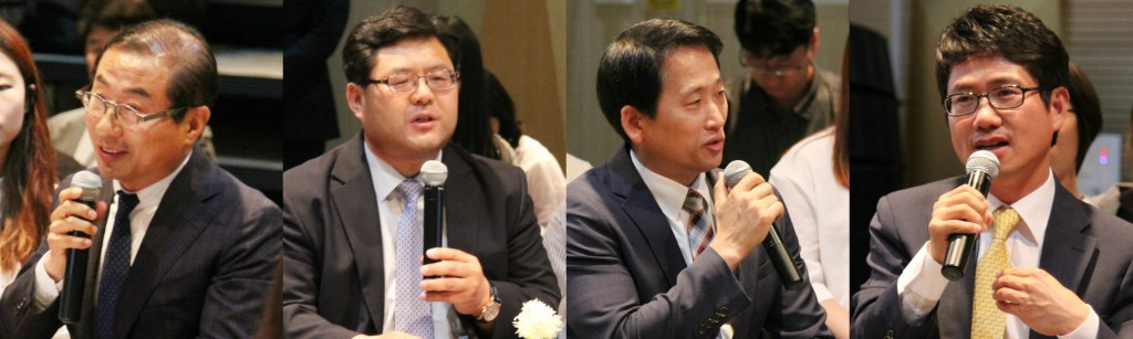 ▲Responses by related persons from the city of Seoul, the academia and industry (from left) Kim Byung-tae, the CEO of Seoul Tourism Marketing, Yoon Yoo-sik, a professor of Kyunghee University, Kim Seong-bok, a director of Premium Pass, Kang Do-yong, a director of Redcap Tour.